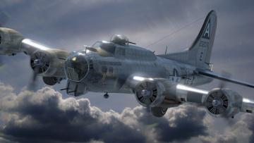 Картинка авиация 3д рисованые v-graphic полет облака самолет