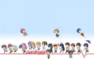 Картинка аниме angel+beats девушки взгляд фон