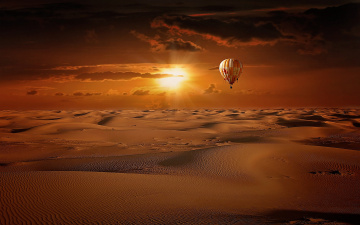 обоя авиация, воздушные шары, солнце, облака, небо, пустыня, барханы, воздушный, шар, песок, восход