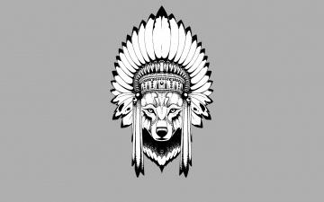 обоя рисованное, минимализм, индеец, wolf, голова, волк, indian, перья