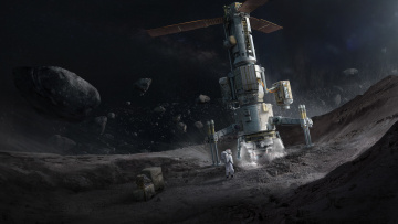 обоя космос, арт, science, fiction, asteroid, space, concept, art