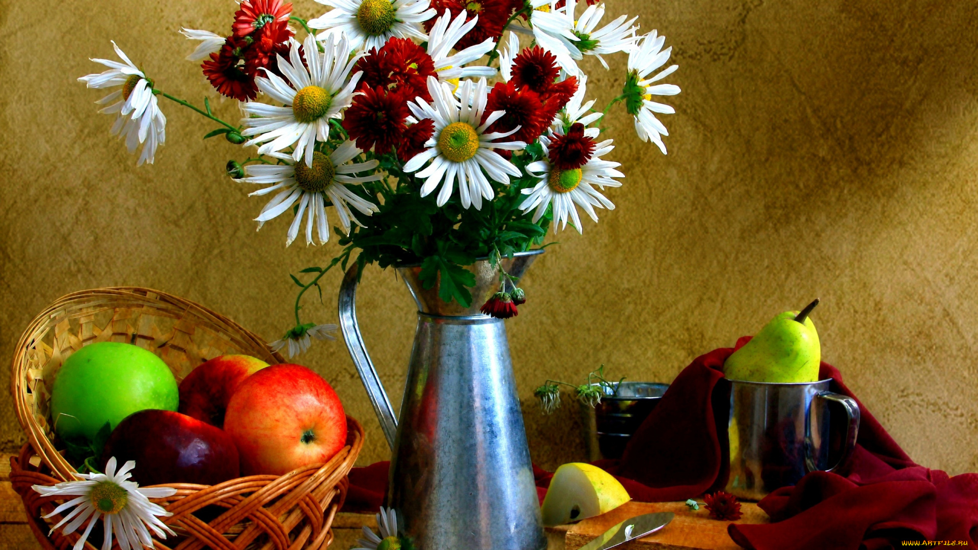 обои на рабочий стол натюрморт с цветами и фруктами № 226403 загрузить