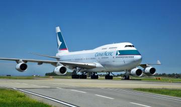 Картинка boeing 747 авиация пассажирские самолёты полоса взлет лайнер