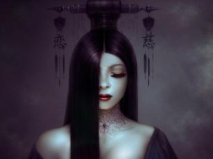 Картинка фэнтези девушки neville dsouza арт иероглифы ресницы украшения прическа волосы девушка