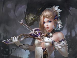 Картинка фэнтези красавицы+и+чудовища скрипка девушка дракон
