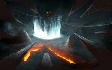 обоя фэнтези, нежить, портал, ад, лава, скалы, демон