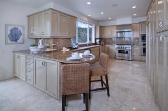 обоя интерьер, кухня, мебель, стулья, фрукты, светильники