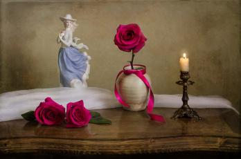 обоя разное, сувениры, лента, розы, статуэтка, свеча