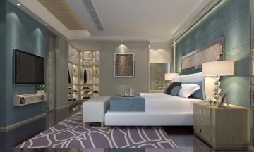 обоя интерьер, спальня, люстра, штора, стиль, кресло, кровать