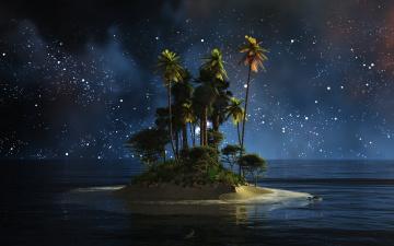 обоя природа, тропики, остров, пальмы, ночь, вода