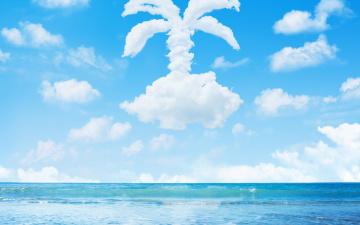 обоя разное, компьютерный дизайн, песок, море, облака, пальма