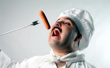 обоя юмор и приколы, повар, сосиска
