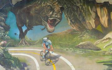 обоя юмор и приколы, велосипедист, погоня, дорога, динозавр, тираннозавр
