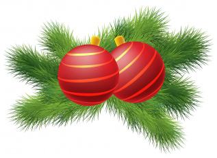 обоя праздничные, векторная графика , новый год, ветки, фон, шары