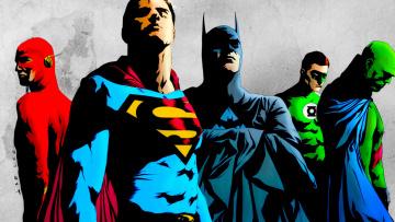 обоя рисованное, комиксы, арт, лига, справедливости, супергерой