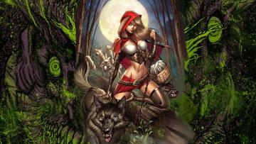 обоя рисованное, комиксы, гримм, сказки, волк, zenescope, лес, красная, шапочка