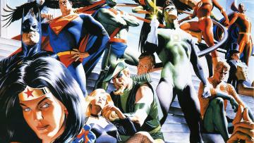 обоя рисованное, комиксы, супергерой, лига, справедливости, арт