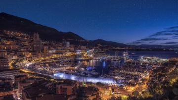 Картинка monaco города монако+ монако ночь залив огни
