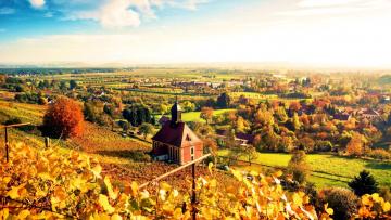 обоя города, - панорамы, осень