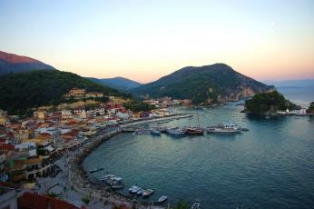 Картинка парга греция города панорамы вода дома побережье вечер