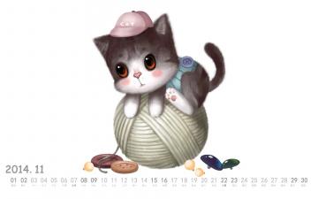 обоя календари, рисованные,  векторная графика, клубок, нитки, пуговицы, кот