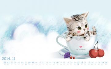 обоя календари, рисованные,  векторная графика, кот, чашка, ягоды