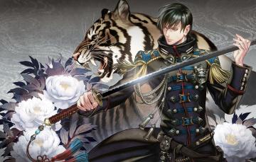 Картинка аниме оружие +техника +технологии цветы тигр форма катана меч мужчина