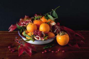 Картинка еда фрукты +ягоды мандарины хурма гранат