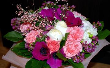 Картинка цветы букеты +композиции гвоздика анемоны