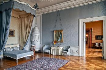 обоя интерьер, дворцы,  музеи, спальня, кровать, зеркало