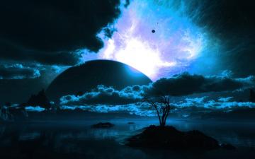 обоя планета, фэнтези, пейзажи, водоем, горизонт