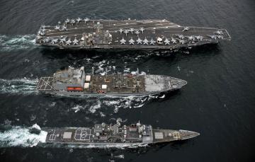 Картинка корабли разные вместе самолеты катер авианосец uss cape st george abraham lincoln usns guadalupe