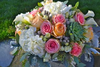 Картинка цветы букеты +композиции розы гортензия каллы букет