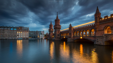 Картинка oberbaumbr& 252 cke+-+berlin города берлин+ германия мост река