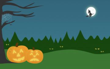 обоя праздничные, хэллоуин, паук, луна, тыквы
