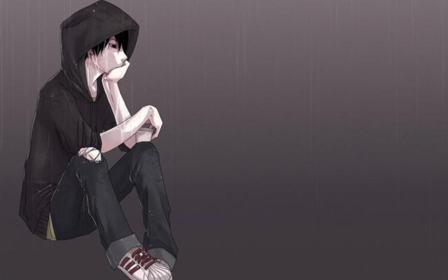 Обои картинки фото рисованное, люди, парень, капюшон, слезы, дождь