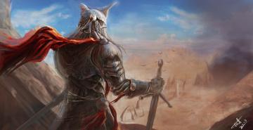 Картинка фэнтези люди дым руины обзор воин рыцарь доспехи меч