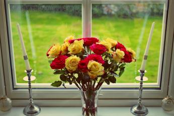 обоя цветы, розы, свечи, букет