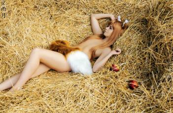 обоя волчица и пряности, разное, cosplay , косплей, яблоки, хвост, cosplay, лежит, рыжая, spice, and, wolf, holo, солома, сеновал