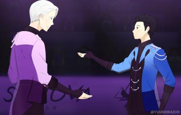 обоя аниме, yuri on ice, юри, катсуки, виктор, никифоров