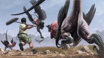 обоя фэнтези, существа, репортёр, птицы, нападение