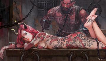 обоя фэнтези, демоны, суккуб, цепи, взгляд, эротика, арт, демон, тату