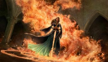 обоя фэнтези, девушки, девушка, меч, огонь, замок, сказочный, мир