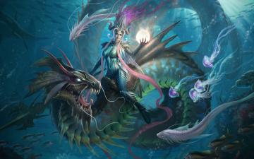 обоя фэнтези, красавицы и чудовища, дракон, подводный, мир, рыбы, море, царица, морская
