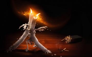 обоя юмор и приколы, огонь, танец, воск, спички, свечи