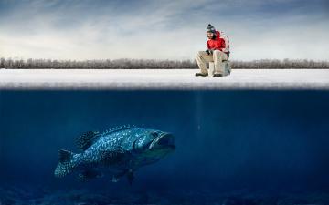 обоя юмор и приколы, рыба, лед, зима, рыбалка, рыбак