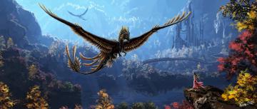 Картинка фэнтези драконы листья деревья вода дракон крылья девушка платье мост