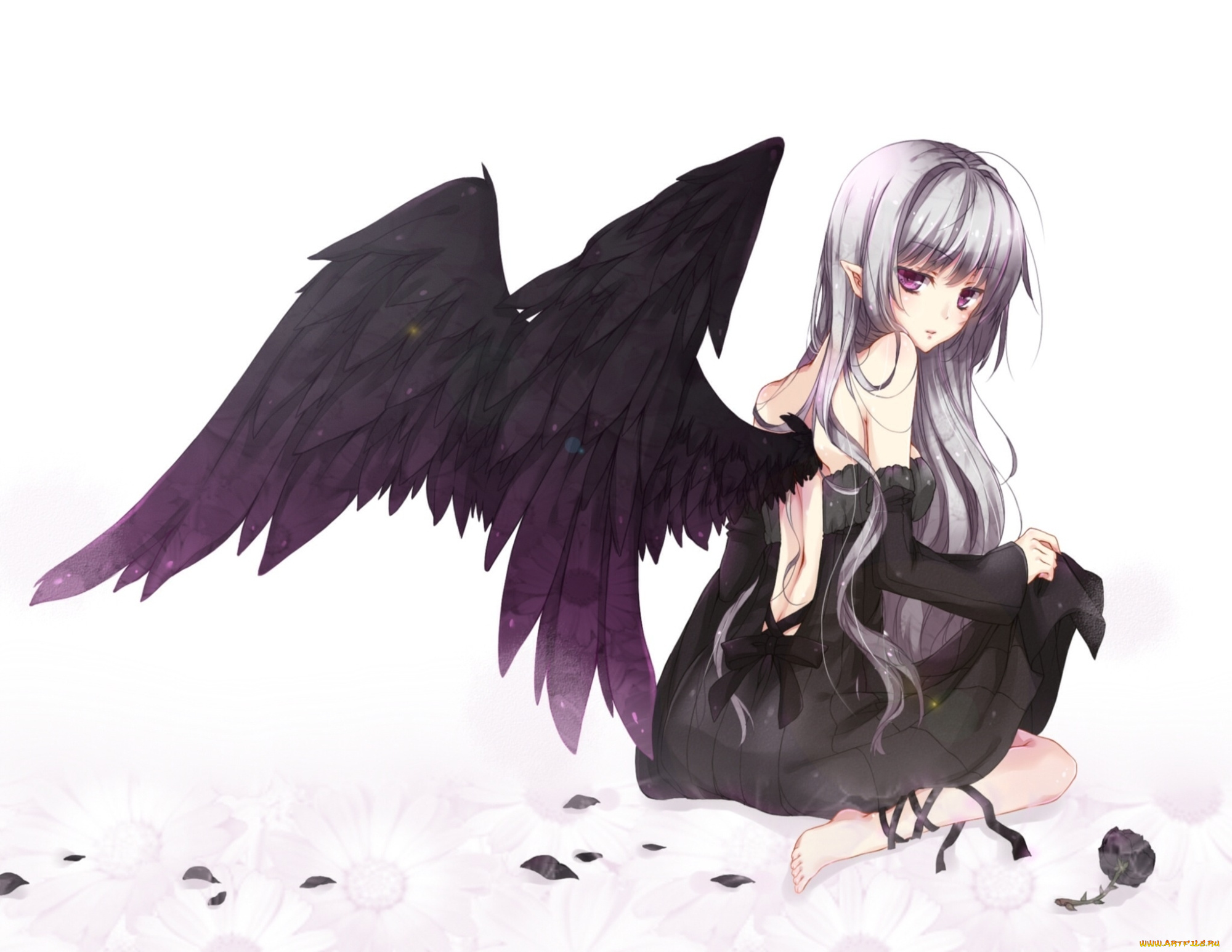 Картинки с девочками аниме с крыльями, про любовь открытки