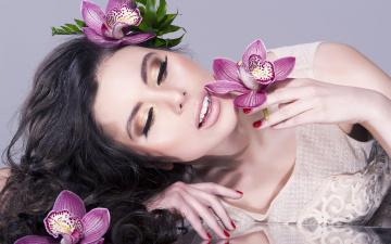 Картинка девушки -unsort+ лица +портреты улыбка макияж цветы девушка
