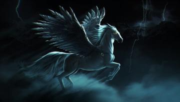 Картинка фэнтези пегасы молния гроза небо крылья лошадь пегас pegasus